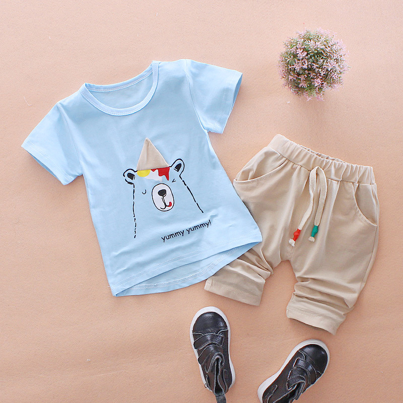 New 2pcs Summer baby sets infant clothing set Cotton short sleeve Baby Boy Clothes T-shirt Tops+Pants Outfits Set