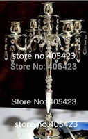 12pc/lot Romantic crystal wedding centerpiece 5 head Candle holders / Crystal candelabra candelabrum stand H50cm