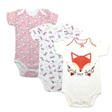 2019 Newborn Baby Boy Girl Romper New Clothing Clothes Short Sleeve Infant Product 3 PCS Babys sets