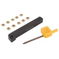 1pc sclcr1212h06 torno torneamento ferramenta titular + 10 pçs CCMT060204-HM vp15tf carboneto de inserção com chave t8