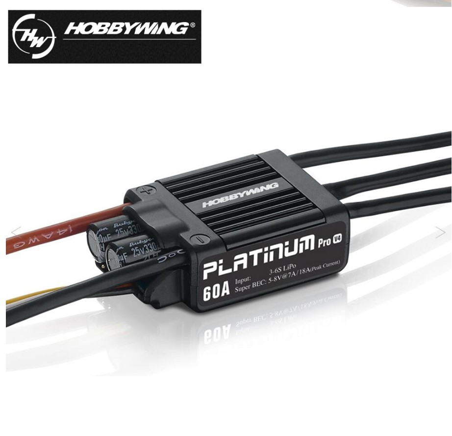 1pcs Original HOBBYWING 60A 3-6S Electric Brushless Speed Controller (ESC) Platinum-60A V4 hobbywing platinum series v4 160a brushless electric speed controller esc for aircrafts high voltage esc