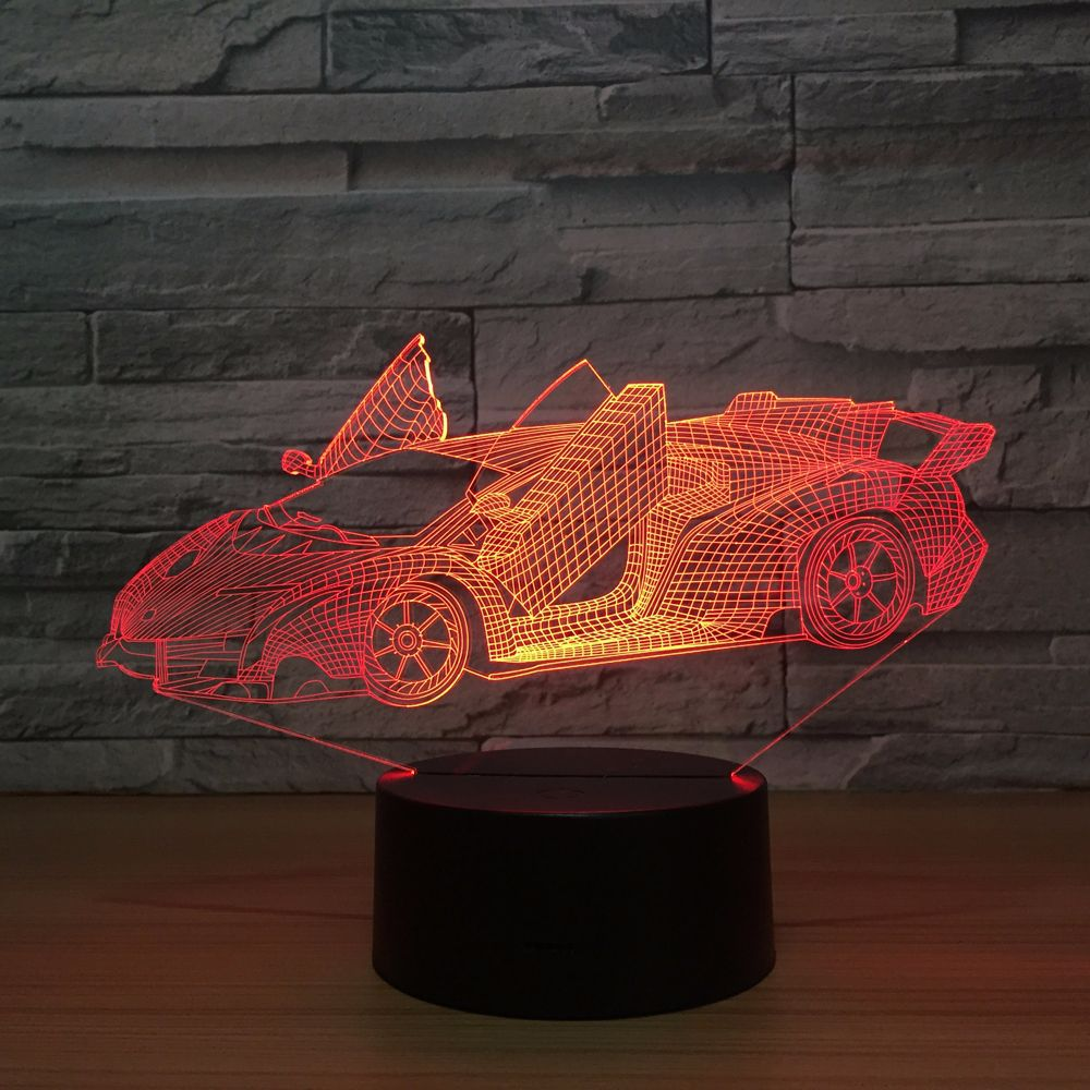 3D Super Car Running Acrylic Lamp 7 Colors Change Night Light Baby Gifts LED USB Desk lamp Atmosphere Decor souvenir remote