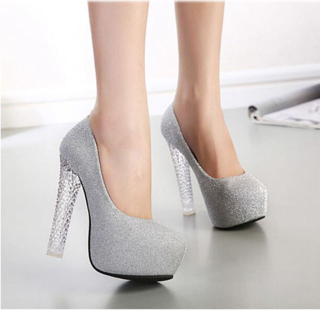 Women Pumps Party Shoes Sexy Round Toe High Heels Shoes Woman Women's Shoes