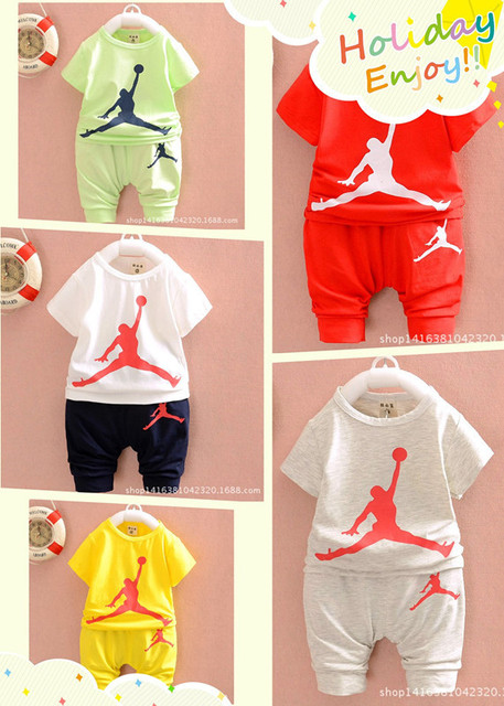 bc4e78fbf1b67b hot sale summer children boys girls tracksuits kids jordan short  sleeves+Haroun pants 2 sets children suits