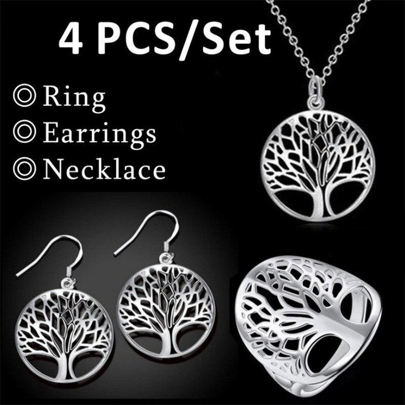 Hollow Tree of Life pendulo Pendant Necklace Wishing Tree  Earrings Bracelet 4pc/Set Reiki Pendulum For Dowsing Women Jewelry