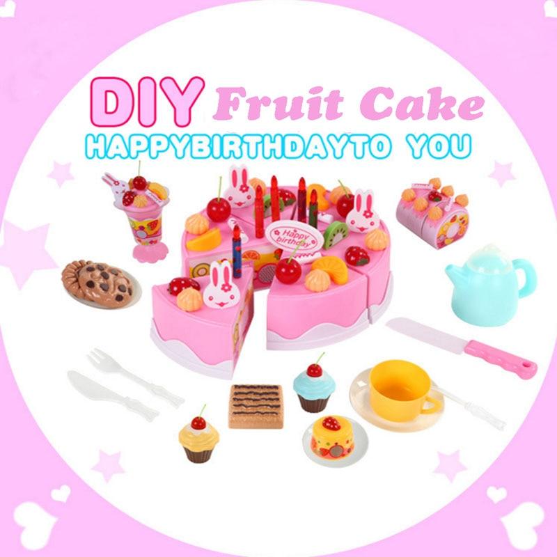 2017New 75Pcs/Set Plastic Kitchen DIY Cutting <font><b>Birthday</b></font> Cakes Toy For Children Kids