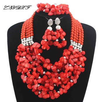 New Marvelous Nigerian Bead Necklaces Wedding Coral Beads Jewelry Set African Beads Jewelry Set for women Free Shipping HD7799