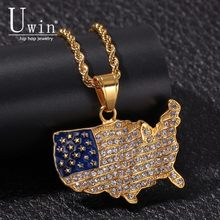 UWIN United States Map Pendant Stainless Steel With Rhinestone Trendy Rock Punk Necklace Men Cold Jewelry(China)