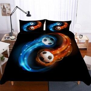 Image 1 - Zestaw pościeli 3D kołdra z nadrukiem pokrywa łóżko – zestaw piłka nożna tekstylia domowe dla dorosłych realistyczne pościel z poszewka na poduszkę # ZQ04