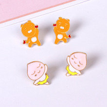 Europe and the United States foreign trade jewelry wholesale South Korean popular new tong qu Fart/peach king lion stud earrings