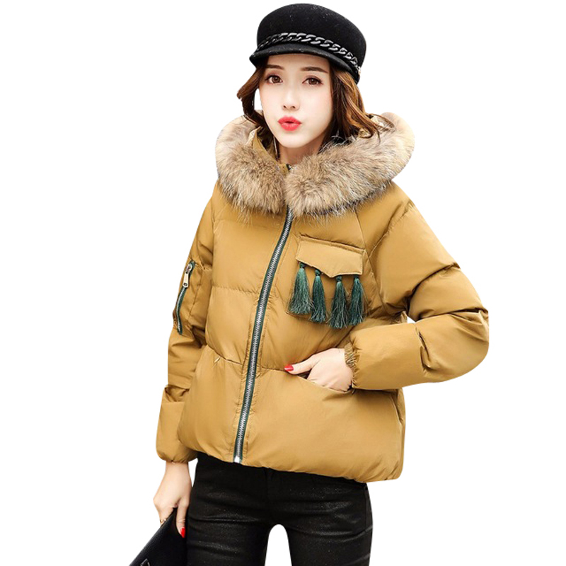 2016 Winter Jacket Women's Fashion High-end Quality Korean Version Leisure Coat Cotton Clothes Hooded Fur Collar Warm Cotton