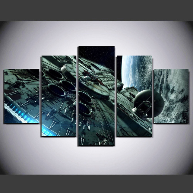 cf1a4d0420e (Framed) 5 Panel Star Wars Millennium Falcon Modern Home Wall Decor Canvas  Picture Art HD Print Painting On Canvas Artworks