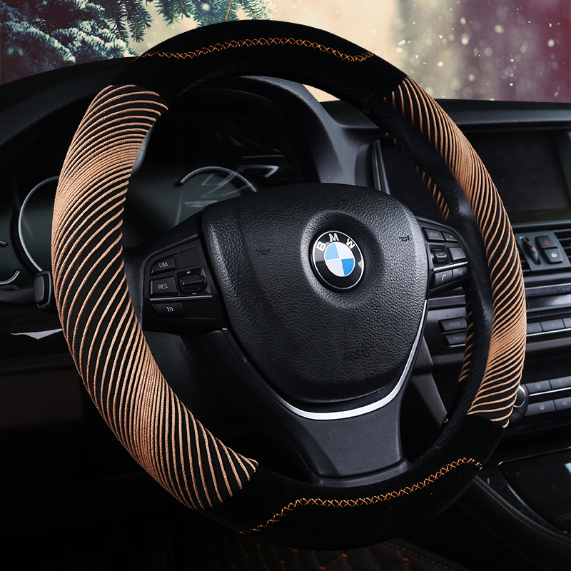 KKYSYELVA Winter Plush Car steering wheel cover font b Interior b font Accessories Auto Steering wheel