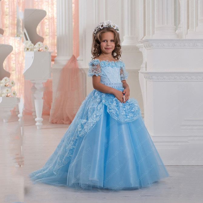 Gorgeous Blue Lace Flower Girl Dresses Ball Gown Kids Prom Party Dresses First Communion Dresses for Girls 2018 purple v neck bow pearls flower lace baby girls dresses for wedding beading sash first communion dress girl prom party gown