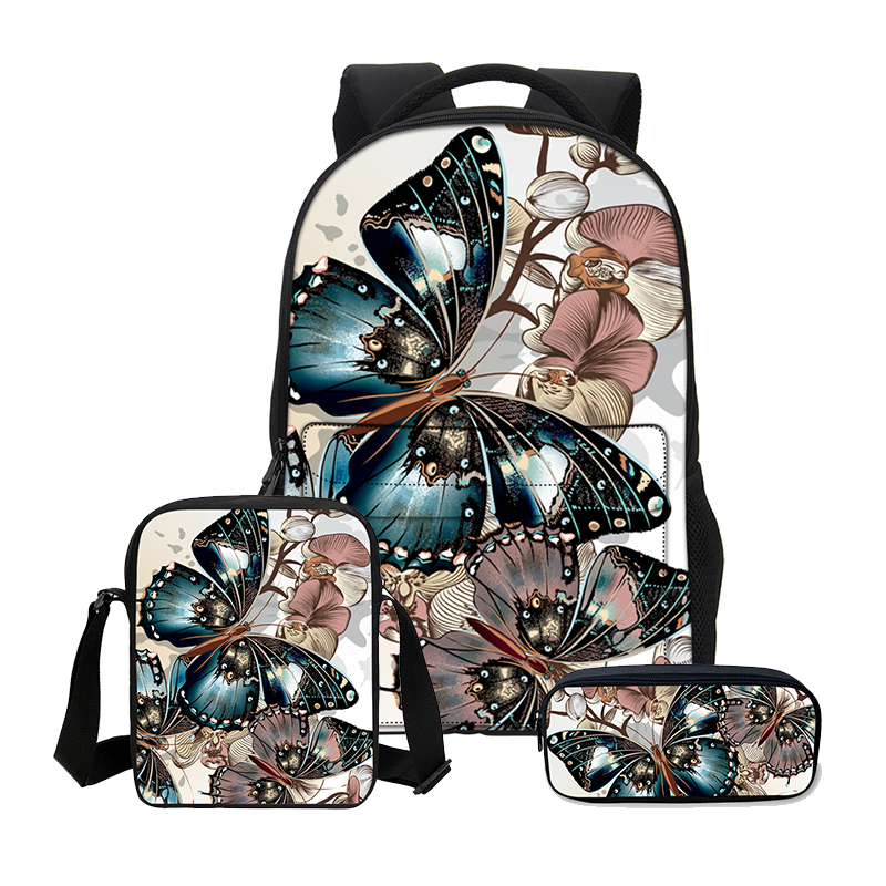 VEEVANV Children's character backpacks  portfolio 3D Butterfly Printing Bookbag Canvas Women Shoulder School Bags Girls Children