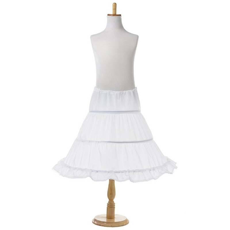 3 Hoops Petticoat Skirt Crinoline Underskirt Ruffle Edge New Girls Princess Wedding Dress Accessory