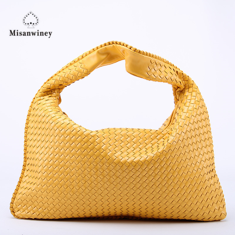 Misanwiney Hand-Weaving Women Bag Handbag Fashion Casual Dumplings Bag 2018 New Leather Ms. Tote Shoulder bag~Star models цена