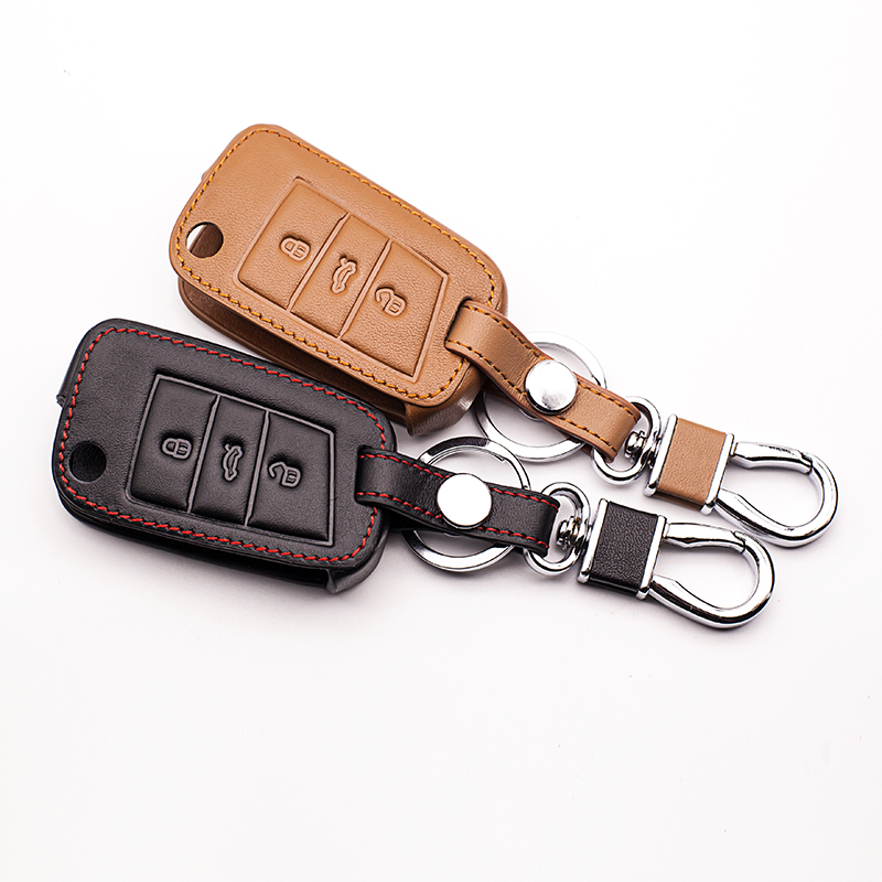 Hot Sale High Quality Leather Car Key Cover For Volkswagen Vw Golf 7
