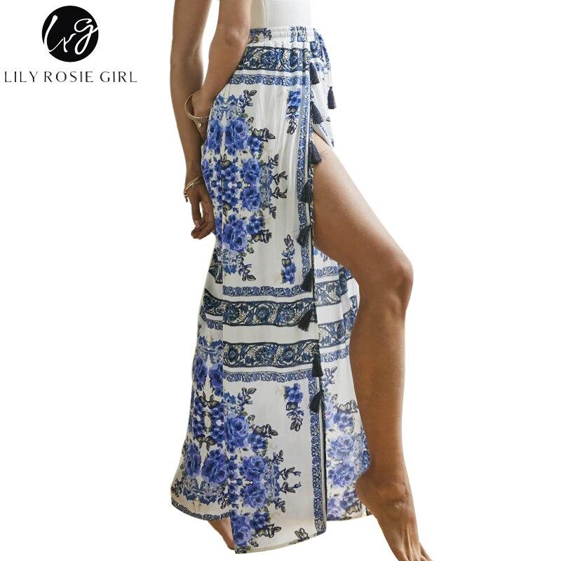 Lily Rosie fille gland Split femmes pantalons longs 2018 été Boho imprimer taille haute décontractée pantalon plage lâche Vintage femme pantalon