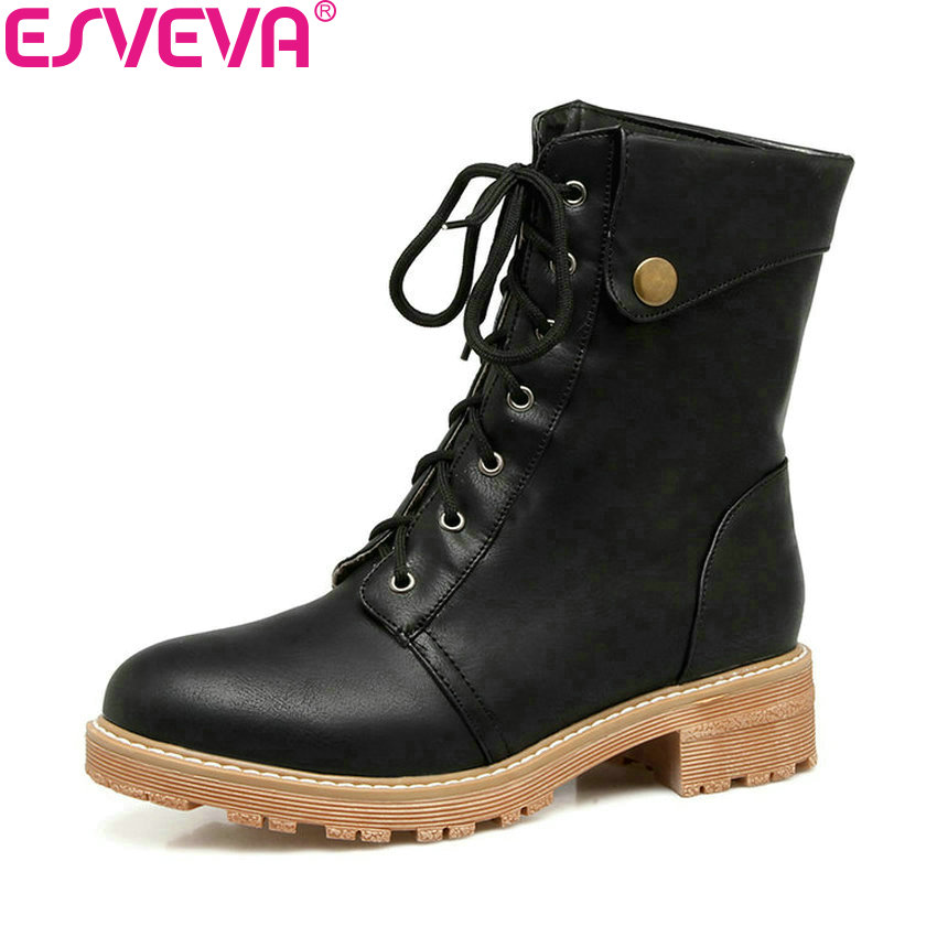 ESVEVA 2018 Women Boots Short Plush Chunky Square Med Heels Concise Ankle Boots Round Toe Platform Ladies Solid Shoes Size 34-43 new arrival 34 40 2016 winter ankle boots for women med heels round toe platform solid casual ladies unique boots