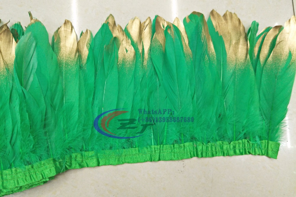 New Arrivals Gold Tips Goose feather trims 2yards /lot Green Dyed geese feather ribbons 15-18cm Duck feather fringes