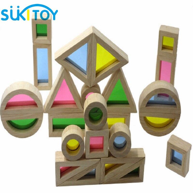 Montessori drveni duge građevni blokovi 24pcs igračke za djecu 6 - Izgradnja igračke - Foto 6