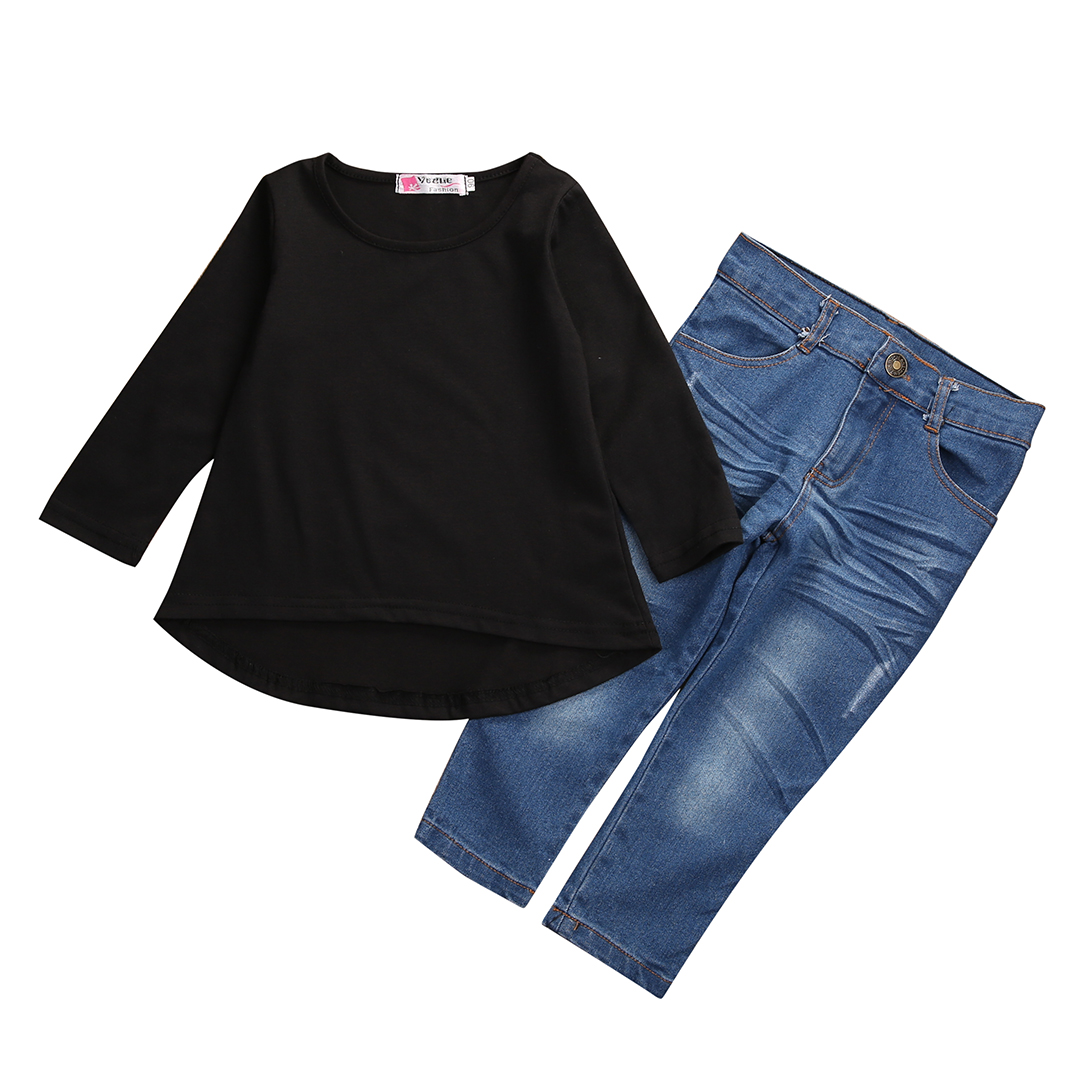 2017 Fashion Toddler Kids Clothing Set Baby Girls Solid Black Long T-shirt Tops + Jean Denim Pant 2PCS Outfit Children Suit 1-6Y 2017 cute kids girl clothing set off shoulder lace white t shirt tops denim pant jeans 2pcs children clothes 2 7y