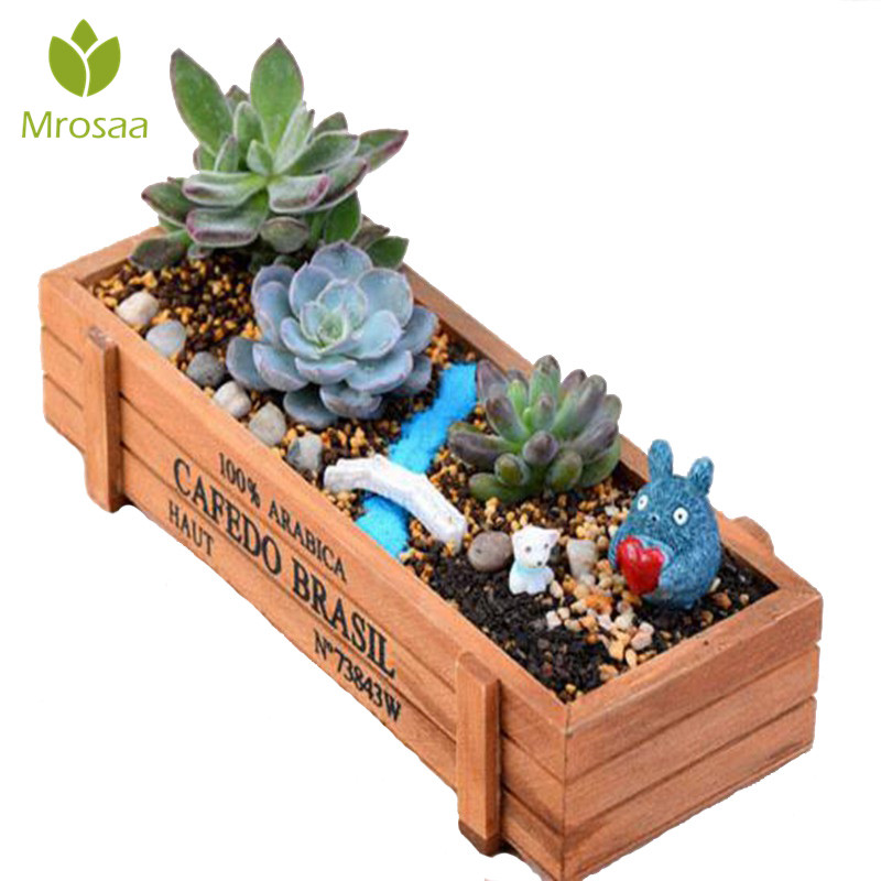Garden Plant Pot Decorative Vintage Succulent Wooden Boxes Crates Rectangle Table Flower Pot Gardening Device Flower Pots