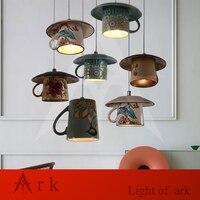 New Vintage Mug Pot Tea Cup Led Pendant Lights Restaurant Passage Bedroom Kitchen Light Ceramic