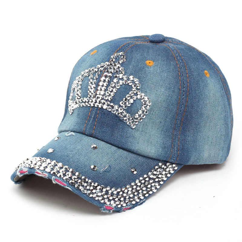 18629553270f8 ... VONRU marca nueva corona gorras de béisbol Rhinestone moda Jean Hip Hop  sombrero mujeres Denim gorra ...