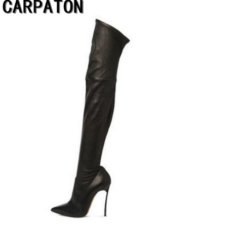 Carpaton 2017 Autumn Winter Women Boots Stretch Leather Thigh High Boots Sexy Pointed Toe Over the Knee High Heel Boots 2017 autumn winter women motorcycle boots high heeled elasticity over the knee high boots pointed toe female long boots