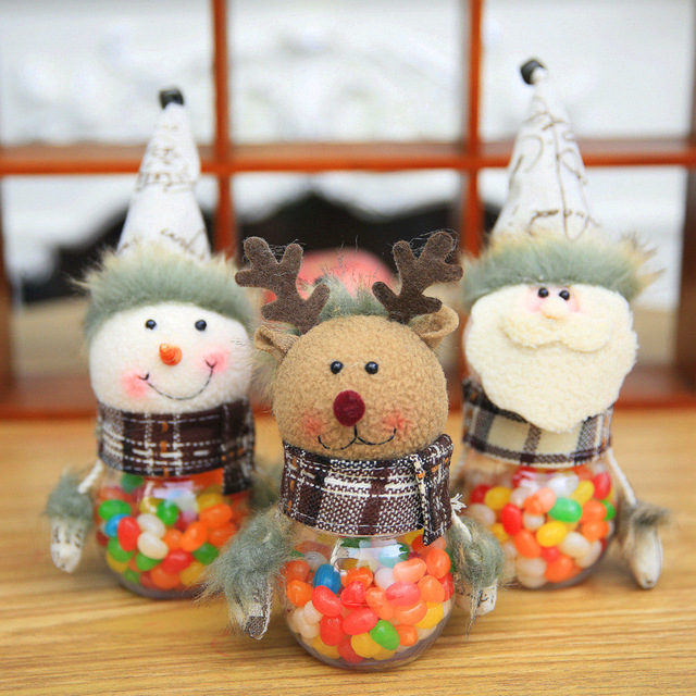 cute santa claus elk snowman candy jars container christmas ornaments kids gifts holiday party table decor