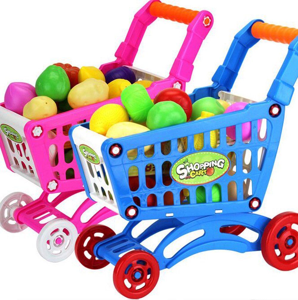 2019 Hot Sale Children Shopping Carts Fruit Vegetable Pretend Play Children Kid Educational Toys Children Play House Toys Set