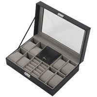 11 Grids Faux Leather Watch Boxes For Watch Jewelry Display Black Color Leather Glass Storage Box