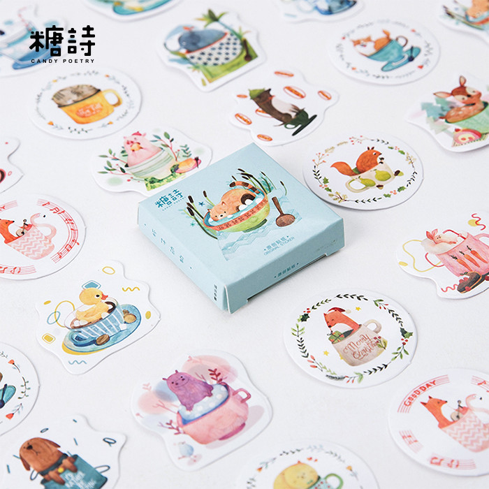 45PCS/box New Cup Animal Album Paper Lable Stickers Crafts And Scrapbooking Decorative Lifelog Sticker Cute Stationery