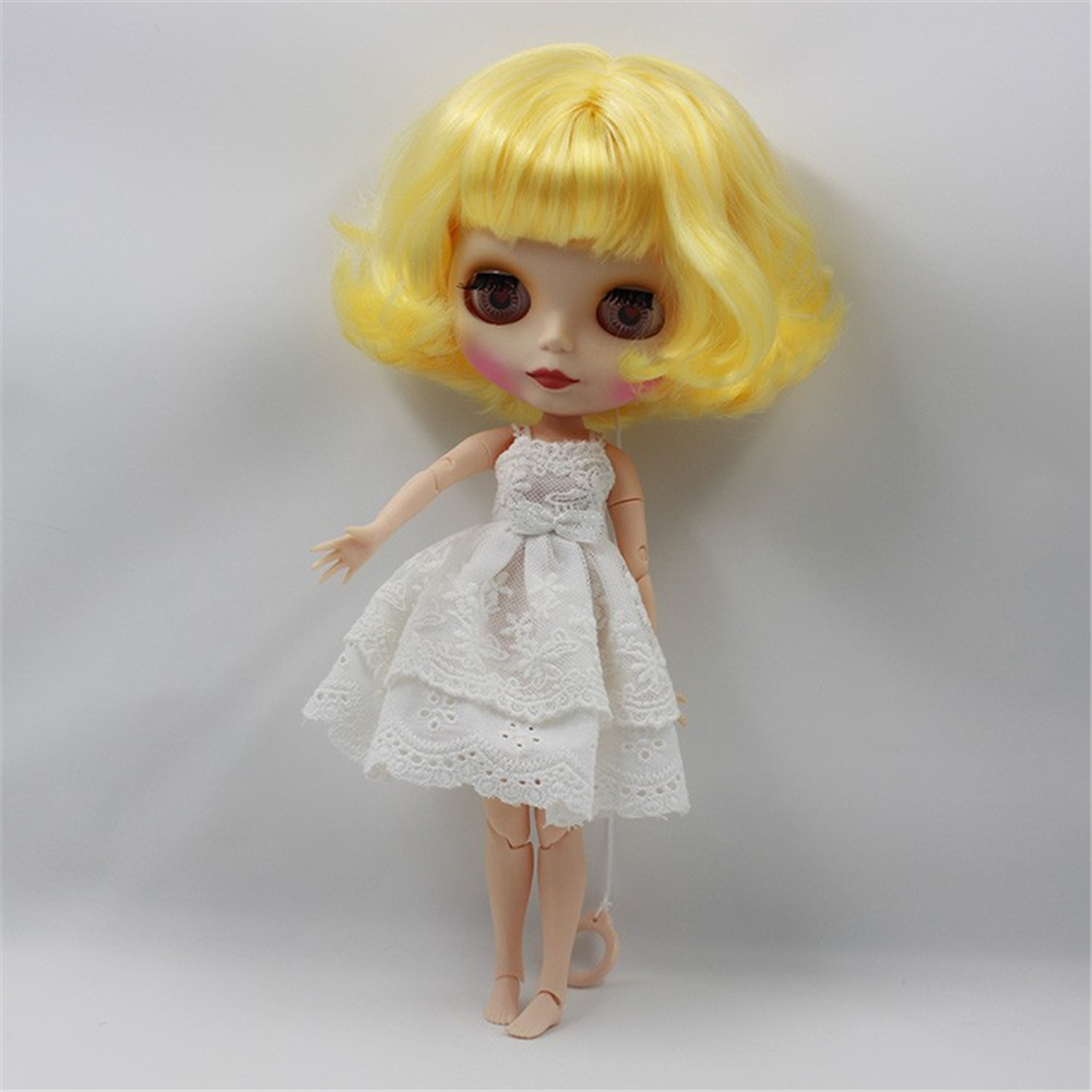 Blyth Nude Doll Yellow Curly Short Hair with Joint Body 4 Colors big Eyes 1/6 bjd Suitable DIY makeup doll blyth toys free shipping bjd joint rbl 354j diy nude blyth doll birthday gift for girl 4 colour big eyes dolls with beautiful hair cute toy