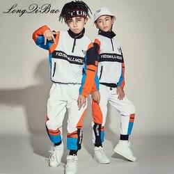 Новый детский костюм для танцев в стиле джаз для девочек, одежда для уличных танцев свободные костюмы для мальчиков в стиле хип-хоп, Корейск...