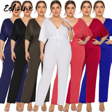 Echoine Sexy Deep V Neck Half Sleeve Casual Office Wide Leg Jumpsuit Black White Women Summer Elegant Overalls Plus Size L-3XL(China)