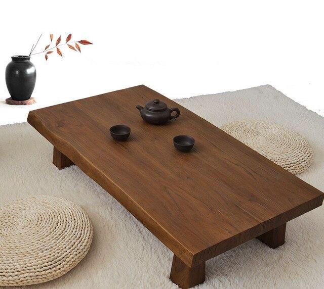 Solid Elm Wood Low Table Antique Finish Rectangular 90cm Living Room Furniture Asian Sofa Modern
