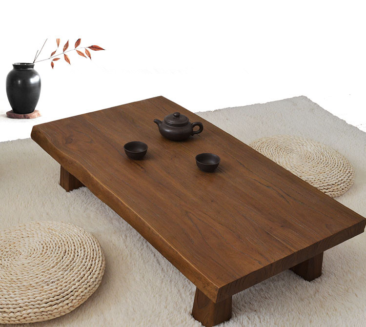Solid Elm Wood Low Table Antique Finish Rectangular 90cm Living Room  Furniture Asian Sofa Table Modern
