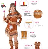 Children Girl Native American Indian Princess Cosplay Costume Soldiers Warrior Costumes Halloween Party Dress Supplies