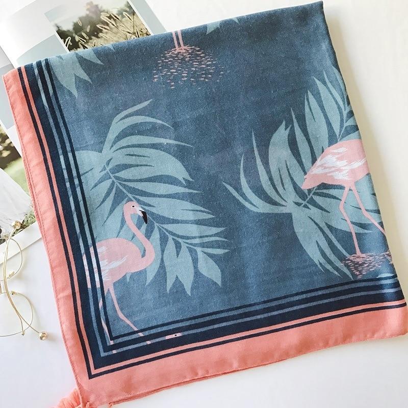 2018 New Spring Summer Crane Color Fringed Cotton Scarves Female Women Shawl Travel Sunscreen Pashmina Women Scarf