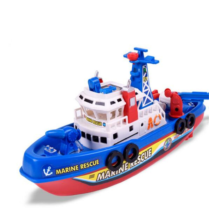 Kdis Water Toy Spray Function Gift  Children Bath Toys Marine Rescure Fire Boat Battery Operated With Sound Light