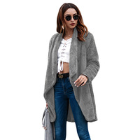 Fleece Sweater Women Cardigan Female Warm Cotton Sweater Femme Pockets Long Kimono Cardigan Fashion Long Coat Women Camel Coat