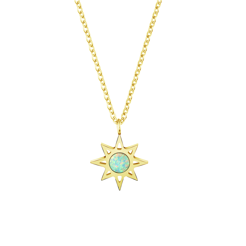 Mode North Star med Blue Fire Opal stenhalsband för kvinnor män handgjorda smycken rostfritt stål kedja guldfärg charm