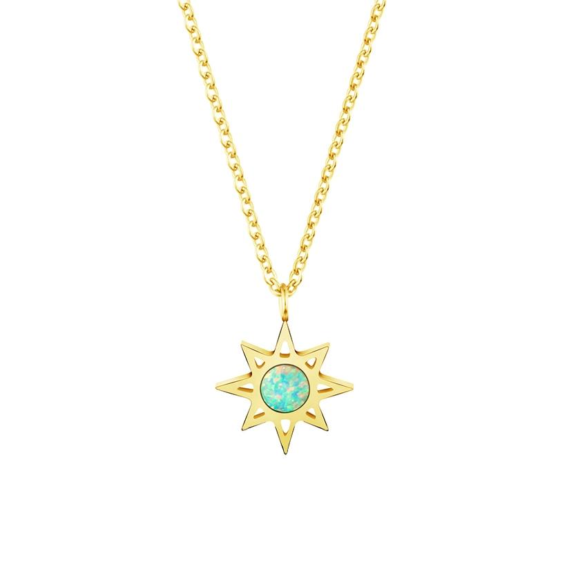 Mode Bintang Utara Dengan Biru Fire Opal Batu Kalung Untuk Wanita Pria Perhiasan Buatan Tangan Stainless Steel Rantai Pesona Warna Emas