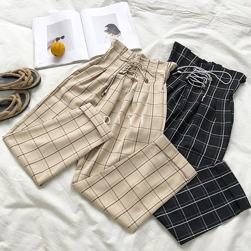 CamKemsey Japanese Harajuku Casual Pants Women 19 Fashion Lace Up High Waist Ankle Length Loose Plaid Harem Pants 4