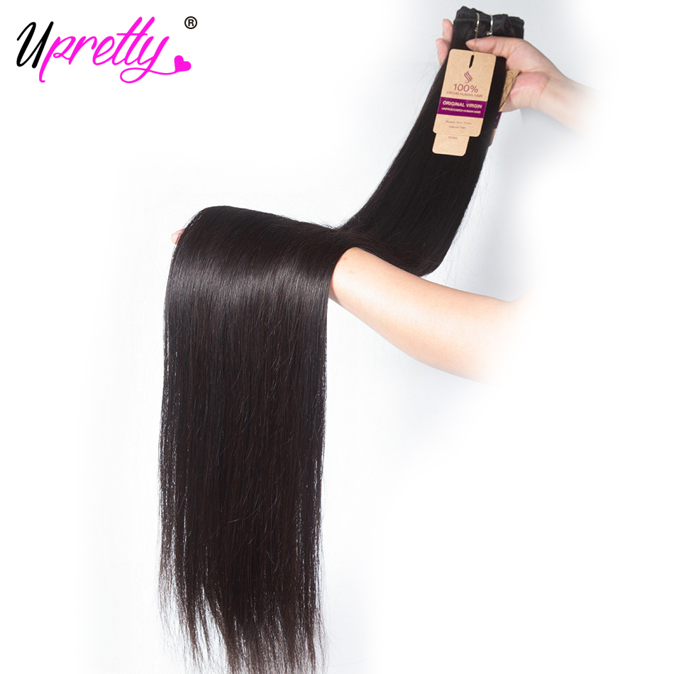 Upretty Hair Brazilian Hair Weave Bundles Straight Hair Bundles 40 inch 28 30 32 34 36 38 inch Remy Human Hair Extensions(China)