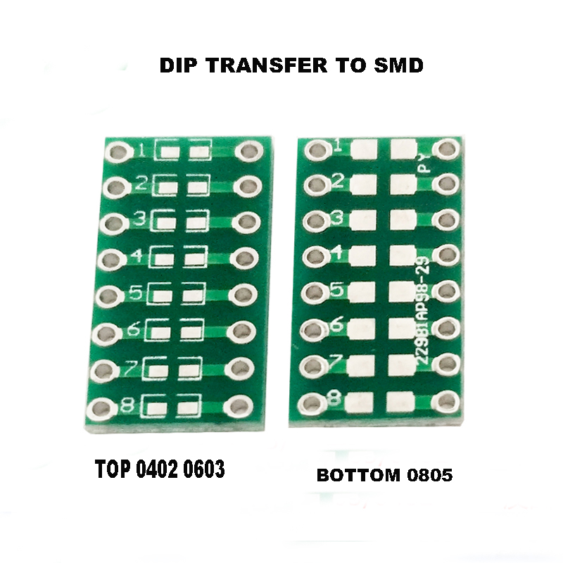 Free shipping 10pc Universal board DIP To <font><b>SMD</b></font> 0805 0603 0402 Capacitor LED adapter <font><b>PCB</b></font> board converter <font><b>pcb</b></font> image