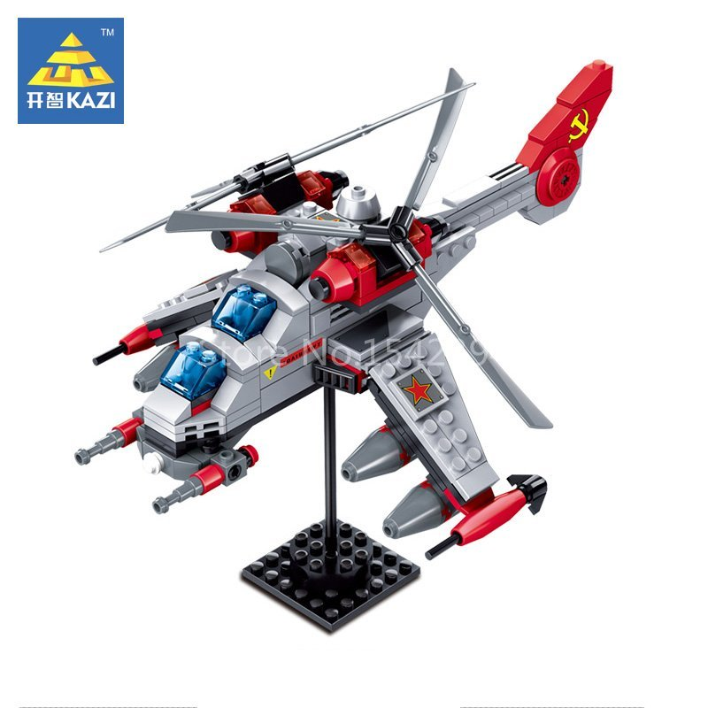 KAZI Double Blade Army Helicopter Red Alert 3 Educational Building Blocks Bricks Plastic Model kits Kids Gifts Toys For Children kazi 608pcs pirates armada flagship building blocks brinquedos caribbean warship sets the black pearl compatible with bricks